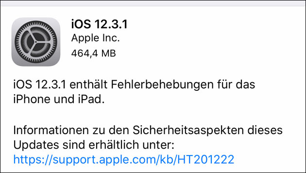 Apple: iOS Update 12.3.1