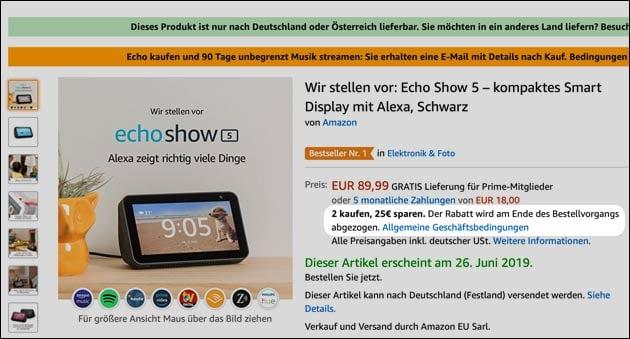 Echo Show 5 Angebot