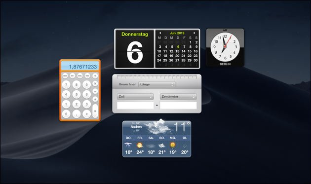 Mac OS Dashboard