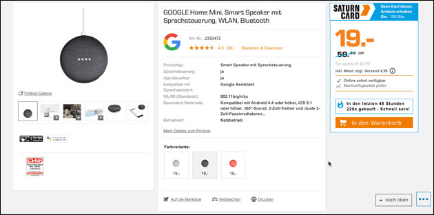 Google Home Mini Angebot