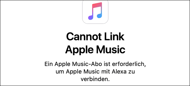 Apple Music Link Fehler