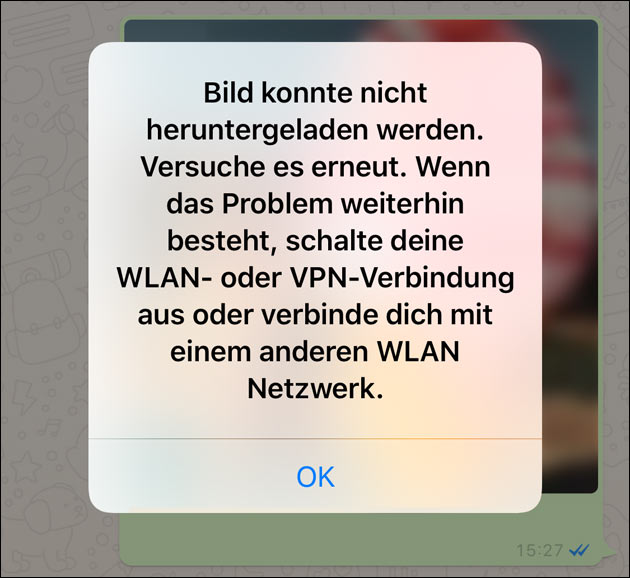 WhatsApp down: Fehlermeldung
