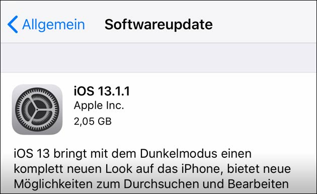 iOS 13.1.1: Neues Apple Update