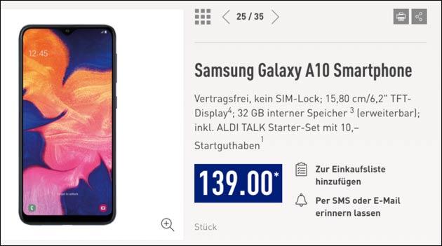 Samsung Galaxy A10 bei Aldi