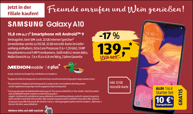 Samsung Galaxy A10 Angebot