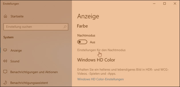 Windows Bildschirm orange