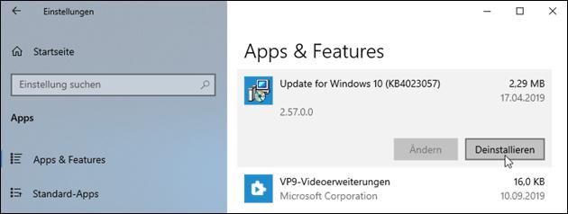 Windows Update deinstallieren