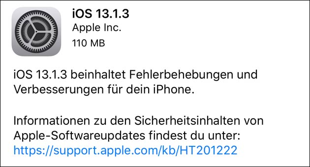 Apple Update: iOS 13.1.3
