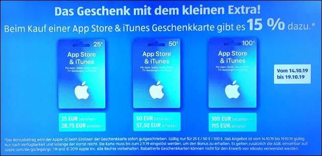 iTunes Guthaben Aktion: 15% Extra-Guthaben