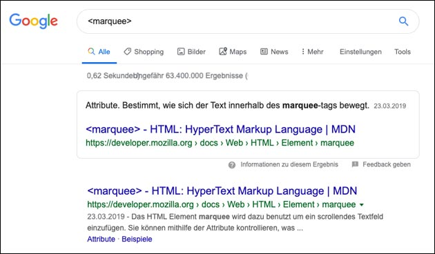 Google Easteregg: Marquee Effect