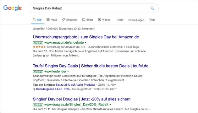 Singles Day Angebot