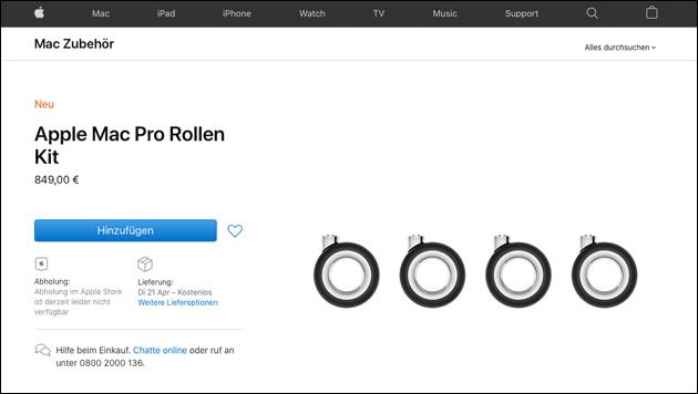 Mac Pro Rollen Kit teuer